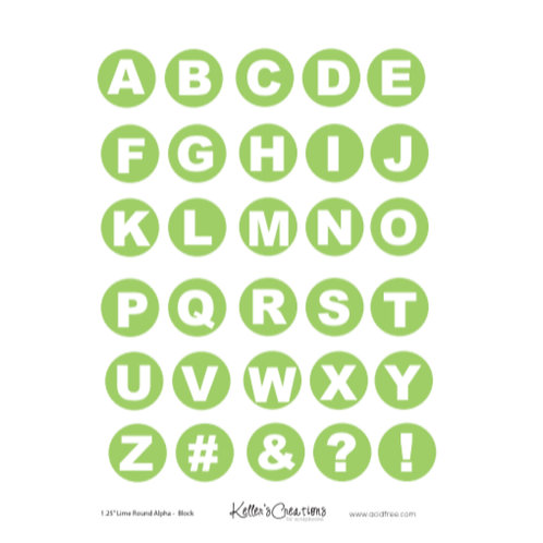 "1.25"" Round Alpha-LIME (block) Sheet"