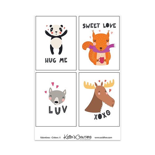 """Valentines-Critters II-3x4"""" Cards"""