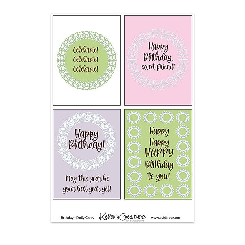 "Birthday Doily-3x4"" Cards"