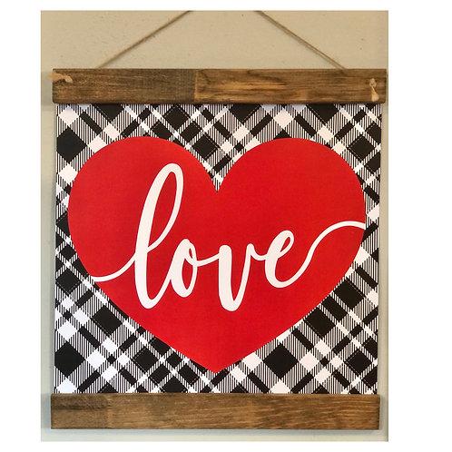 Love Red Heart Plaid Print