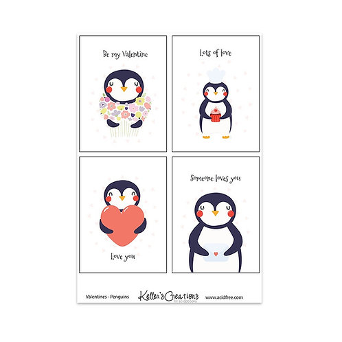 "Valentines-Penguins-3x4"" Cards"
