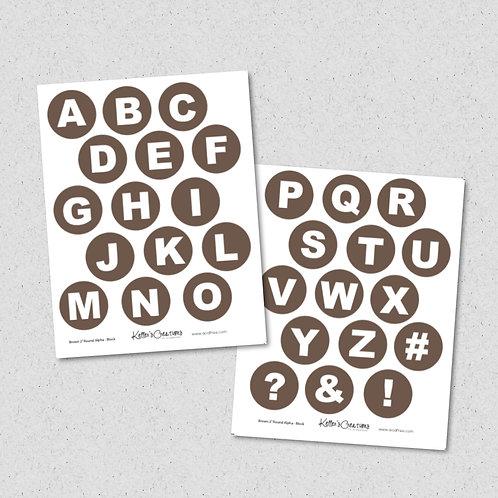 """2"""" Round Alpha-BROWN (block) Sheet"""