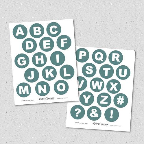"2"" Round Alpha-TEAL (block) Sheet"
