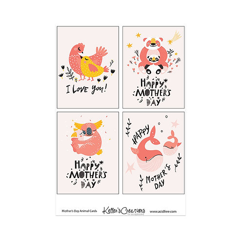 """Mother's Day Animal-3x4"""" Cards"""