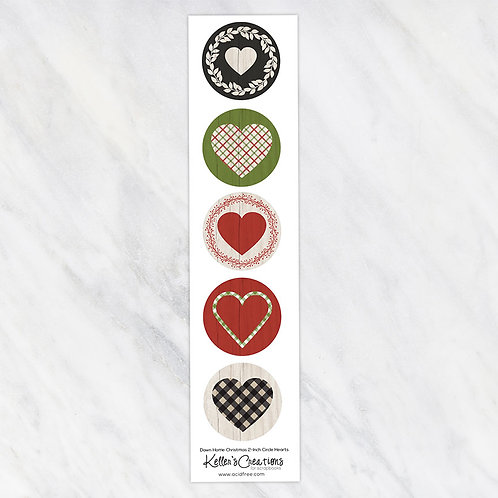 Down Home Christmas-Hearts 2-inch Circles