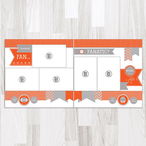 Football Fan-Orange & White & Gray Perfect Pages