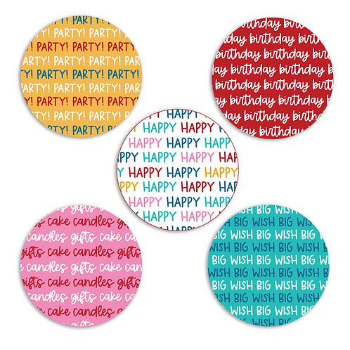 Birthday Party 2-inch Circles