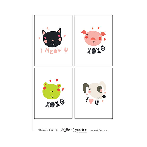 "Valentines-Critters III-3x4"" Cards"