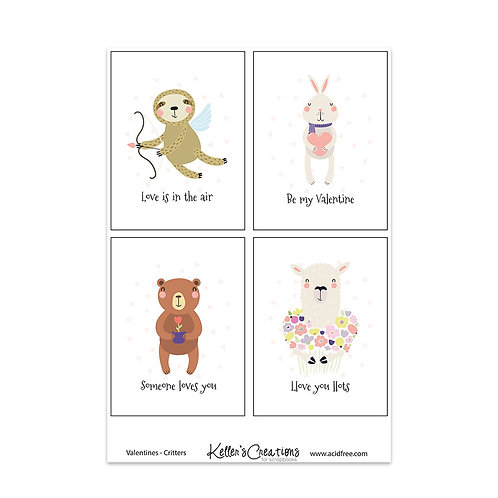 DIGITAL Valentines-Critters - 3x4 Cards