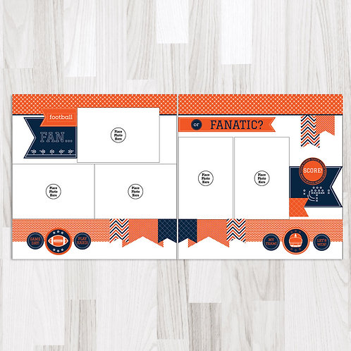 Football Fan-Navy & Orange & White Perfect Pages