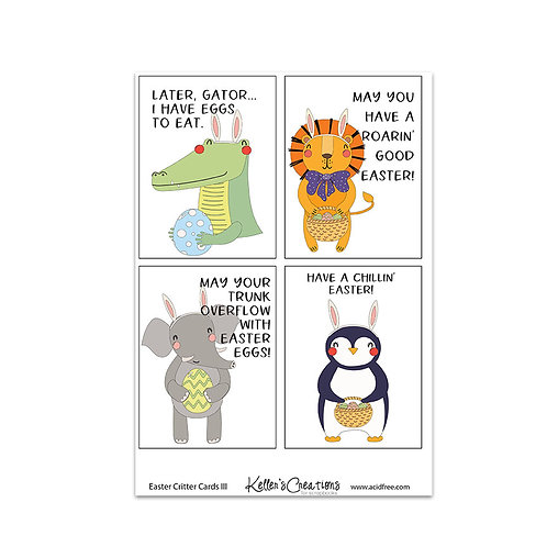 "Easter Critters III-3x4"" Cards"