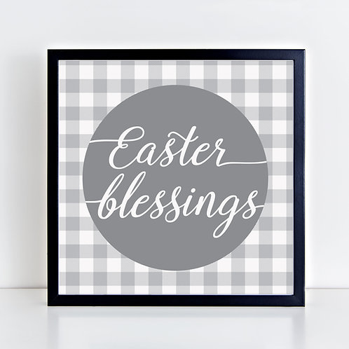 Easter Blessings (Gray) Print
