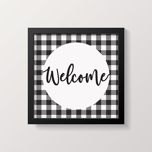 Welcome Buffalo Plaid Print