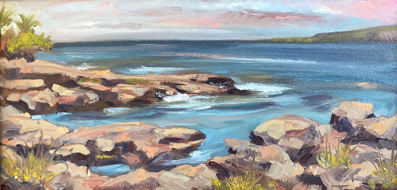 """Ke'ei with Pink Clouds 10"""" x 20"""" Oil on canvas Available"""