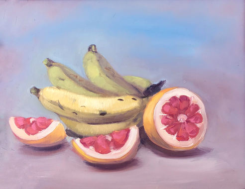 """Grapefruit with Bananas 14"""" x 11"""" Oil on masonite Available"""