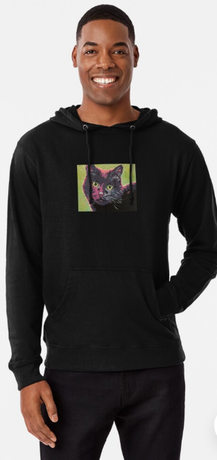 Black Cat with Green Eyes Lightweight Hoodie
