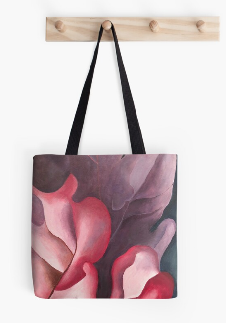 Flowery Abstract Leaves Tote Bag