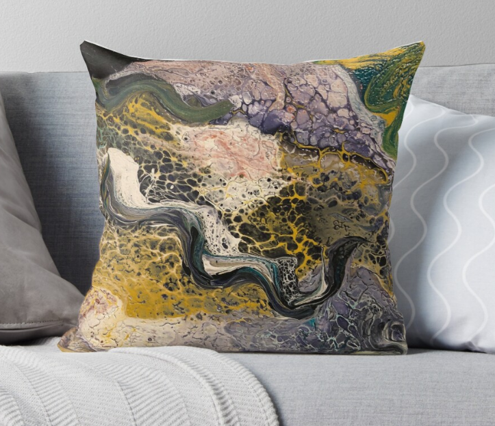 Abstract River Throw Pillow