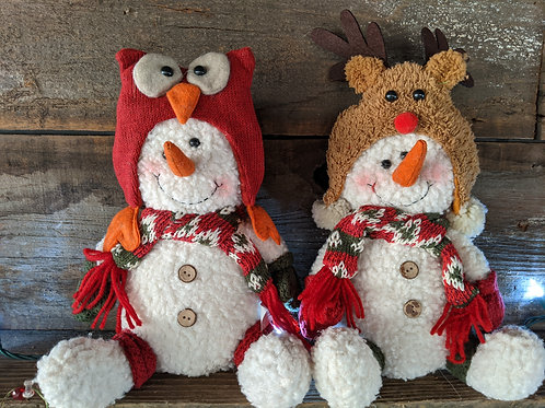 Plush Snowman with Whimsical Stocking Hat
