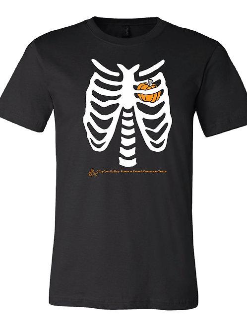 Skeleton Pumpkin Heart Adult Unisex T-shirt