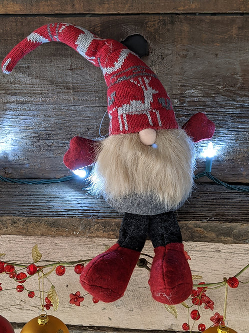 Sitting Gnome with Reindeer Stocking Cap