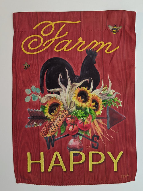 Farm Happy Rooster Garden Suede Flag