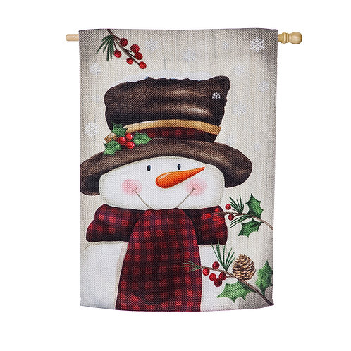 Smiling Snowman House Flag