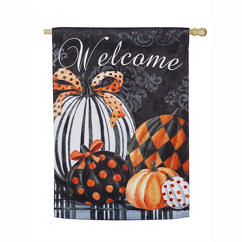 Elegant Pattern Pumpkins House Flag