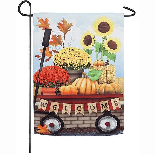 Autumn Red Wagon Garden Flag