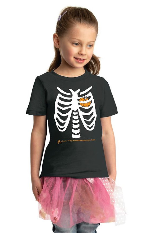 Skeleton Pumpkin Heart Toddler & Youth T-shirt