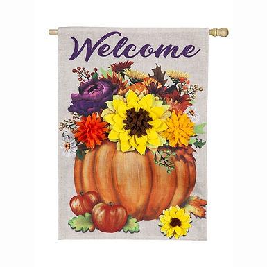 Floral Pumpkin Burlap Decorative Flag