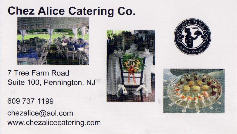 (609) 737-1199 Chezalice@aol.com www.chezalicecatering.com
