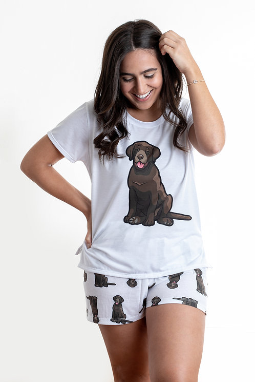 Chocolate labrador w/shorts