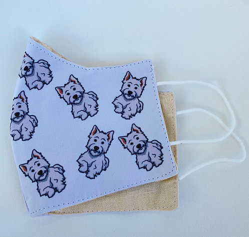 Westie dog face mask West Highland terrier