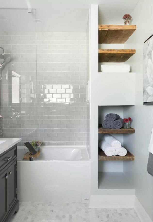 White subway tile in tub