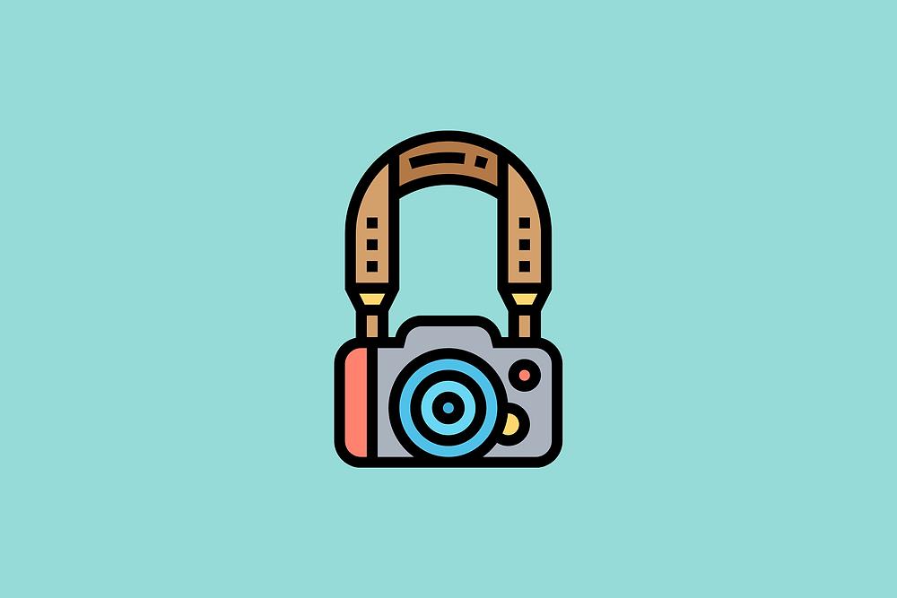 camera strap and camera graphic