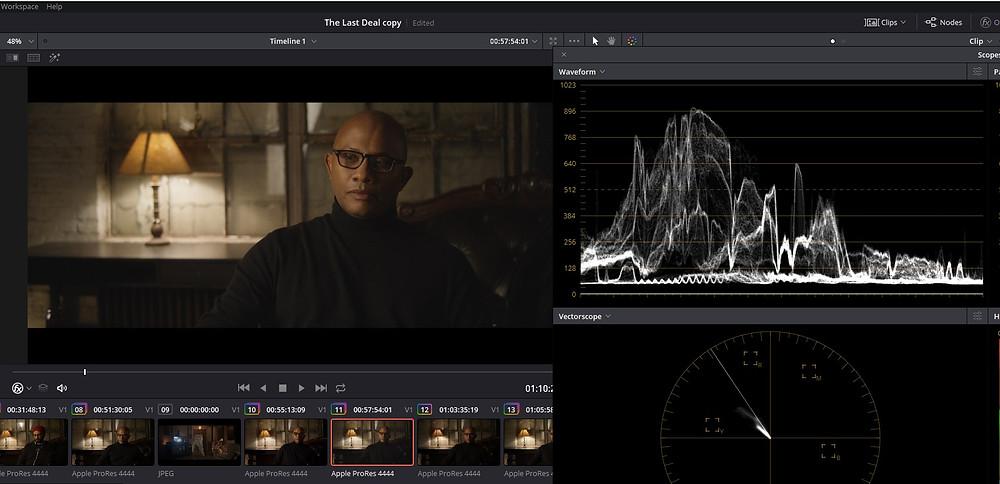 Color Grading - The Last Deal Short Film - Davinci Resolve LOW SOFT example Waveform