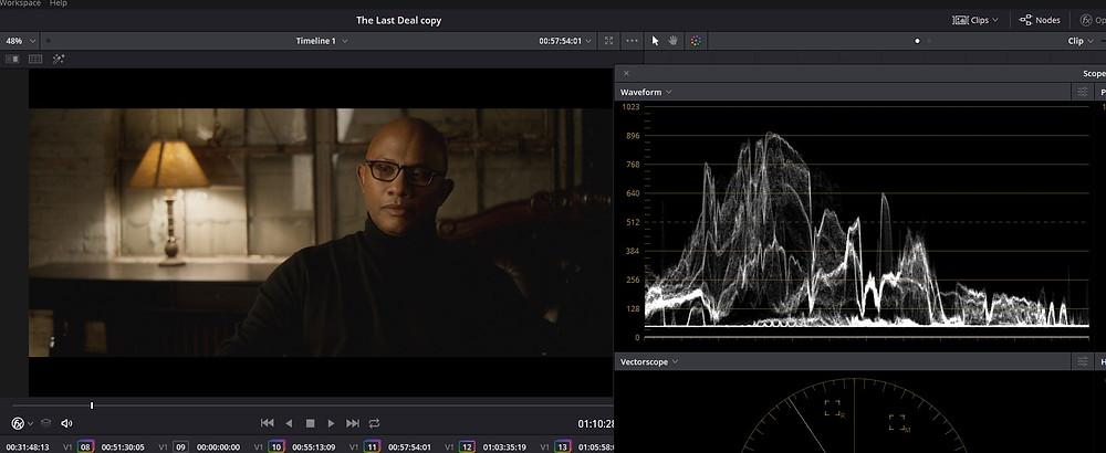 Color Grading - The Last Deal Short Film - Davinci Resolve LOW CLIP example Waveform