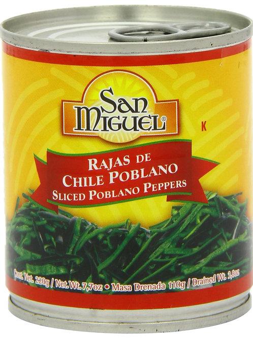 Rajas de chile poblano, San Miguel - 220 g