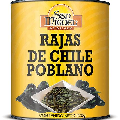 Rajas de chile Poblano, San Miguel - 220 g.