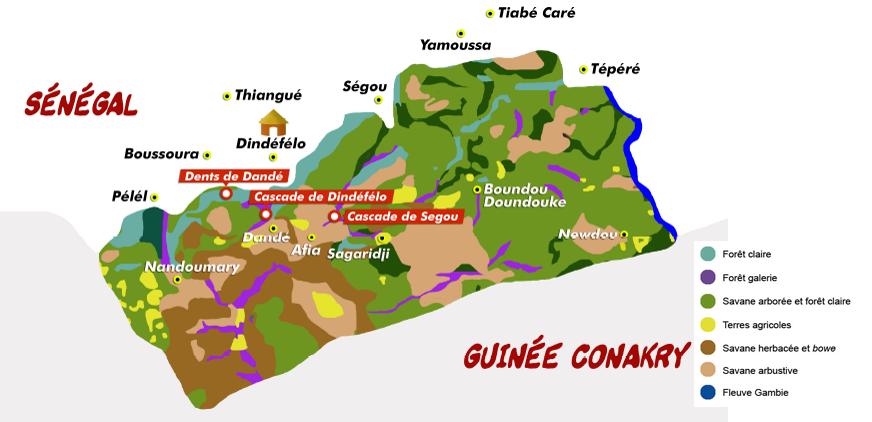 Carte de la Réserve de Dindéfélo