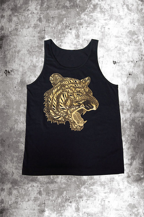 METALLIC GOLD TIGER VEST - BLACK