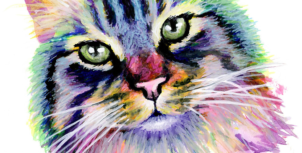 """""""Dewey"""" Colorful Watercolor and Gouache Main Coon Cat Painting"""