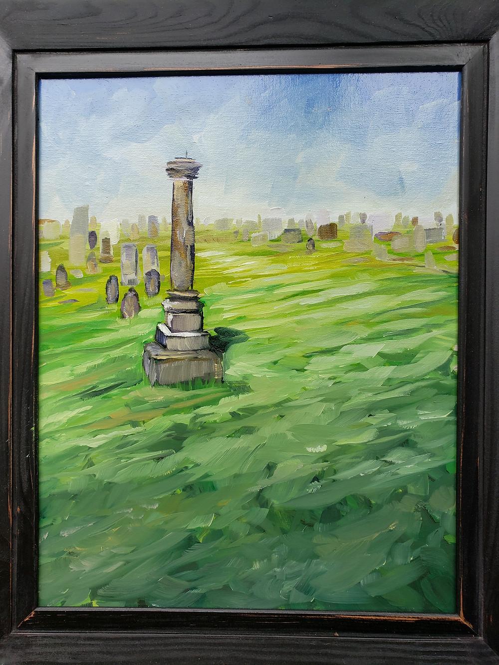 Oil painting of cemetery in Augusta, Missouri