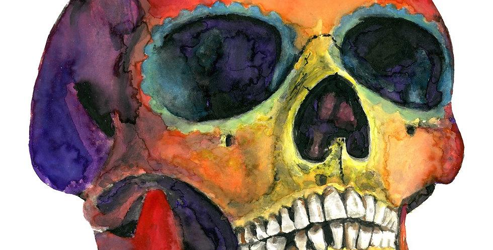 Sugar Skull Watercolor Skull Painting