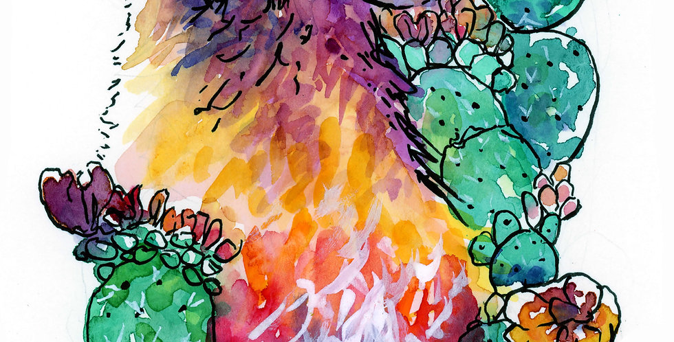 Wolf with Cactus Watercolor Painting