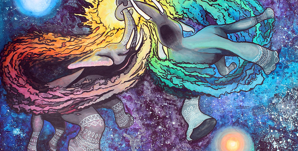 Elephants in Space Watercolor Illustration