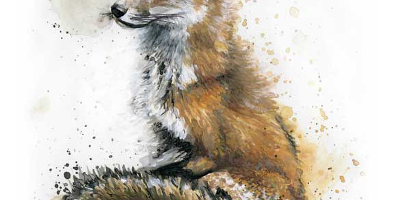 """Patiently Waiting"" Fox Watercolor"