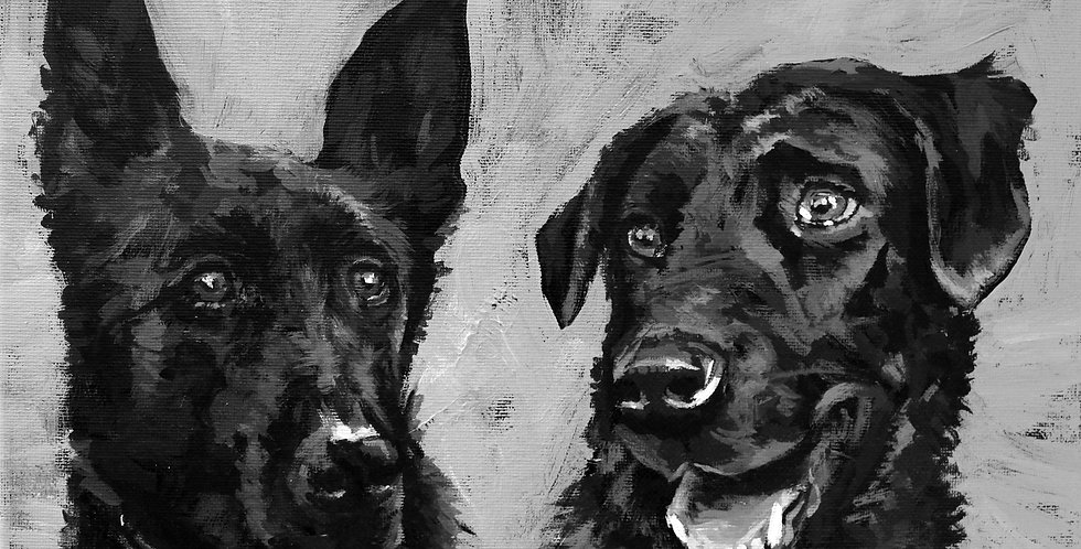 """Kings of the Castle"" Painting of two Black Labrador Retrievers"