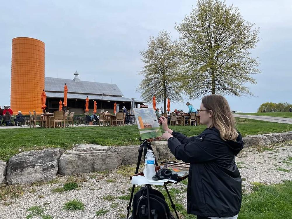 St. Louis Artist Arleana Holtzmann painting during the Augusta Plein Air Event